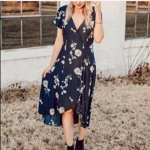 FP Blue Floral Midi Dress